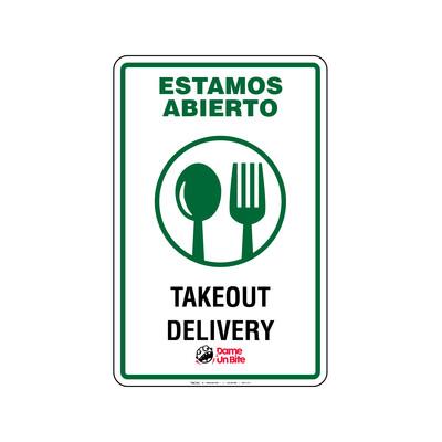 Rótulo Estamos Abierto -Takeout & Delivery Dame un Bite