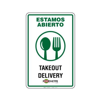 Rótulo Estamos Abierto -Takeout & Delivery Foodnetpr.com
