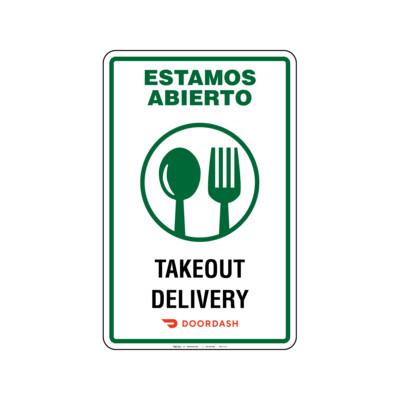 Rótulo Estamos Abierto -Takeout & Delivery Doordash