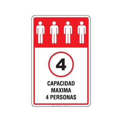 Rótulo Elevador - CAPACIDAD MAXIMA 4 PERSONAS