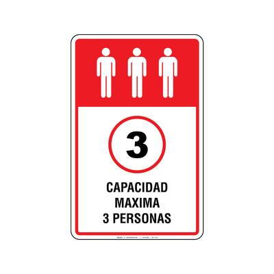 Rótulo Elevador - CAPACIDAD MAXIMA 3 PERSONAS