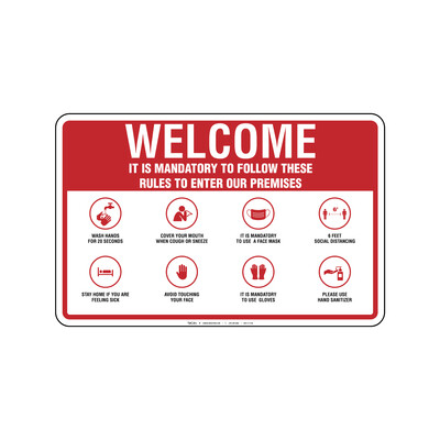 Rótulo - WELCOME MANDATORY RULES (WITH GLOVES)