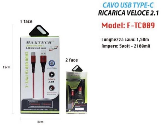 Cavo Di Ricarica Type C 1,5m Maxtech