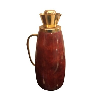 Aldo Tura Mid-Century Modern Red Goatskin and Brass Thermos Carafe, circa 1960