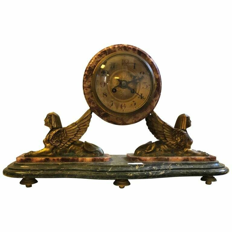 Art Deco French Polychrome Marble and Brass Table Clock, circa 1930