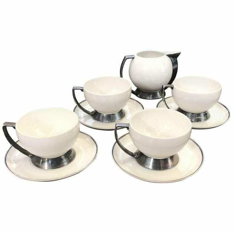 Set of Four Art Deco Italian Thea Cup and Milk Jug by Guido Andlovitz for Laveno