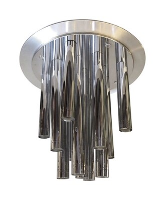 Reggiani Huge Space Age Chrome Italian Thirteen Light Chandelier, circa 1970