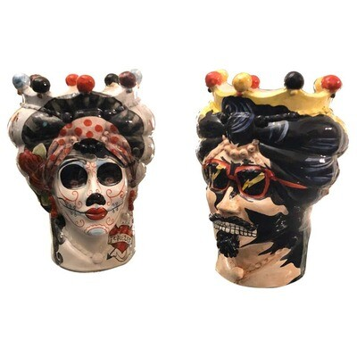 Set of Two Unique Hand Painted Ceramic Sicilian Head Vases