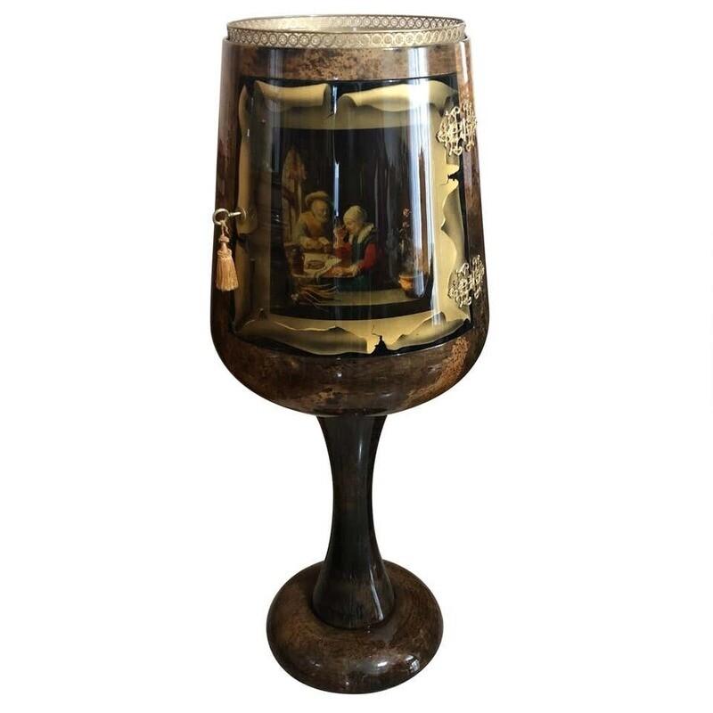 Aldo Tura Iconic Goblet Shaped Goatskin Bar Cabinet, circa 1960