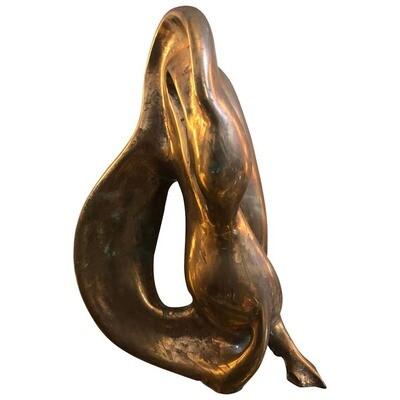 Mid-Century Modern Brass Italian Sculpture of a Swan, circa 1960