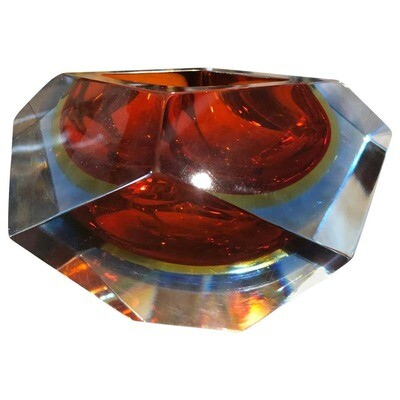 Seguso Sommerso Faceted Murano Glass Ashtray Made in the 1970s