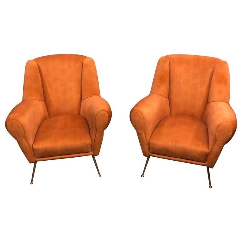 Set of Two Mid-Century Modern Brass and Orange Velvet Armchairs, circa 1960