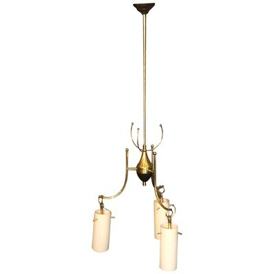 Stilnovo Style Mid-Century Modern Brass and Glass Italian Chandelier, circa 1960