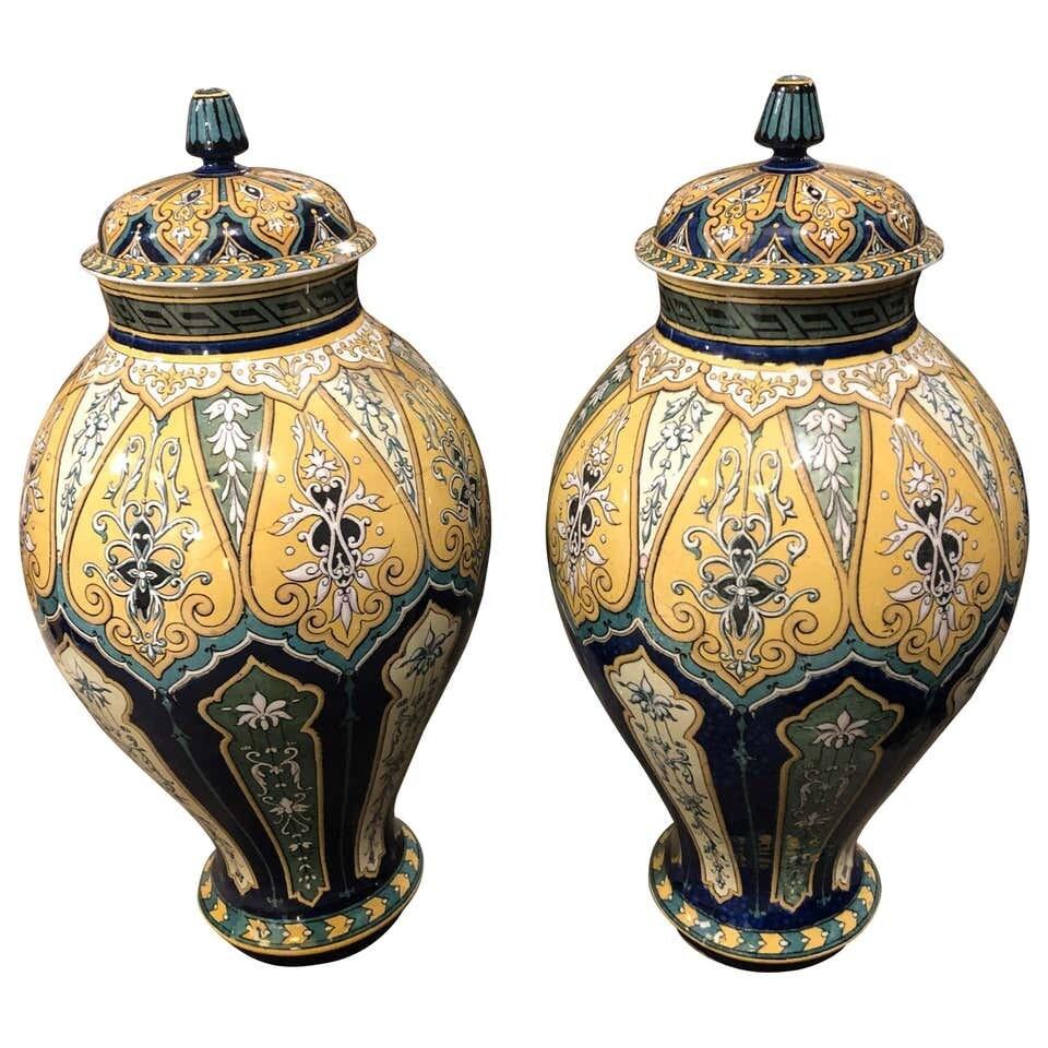 Art Nouveau Porcelain Sarreguemines French Ginger Jars, circa 1890