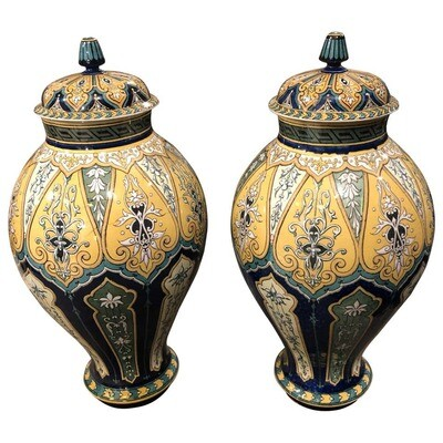 Art Nouveau Porcelain Sarreguemines French Ginger Jars, circa 1890