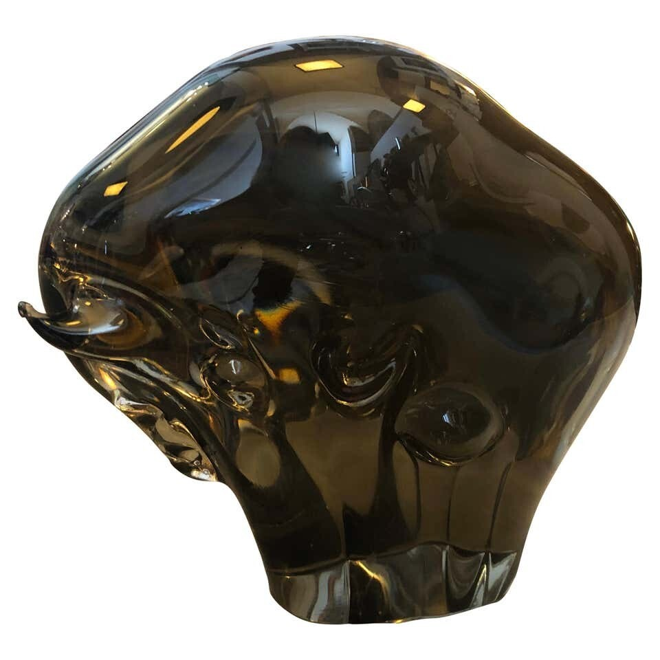 Livio Seguso Mid-Century Modern Brown Murano Glass Bull, circa 1970