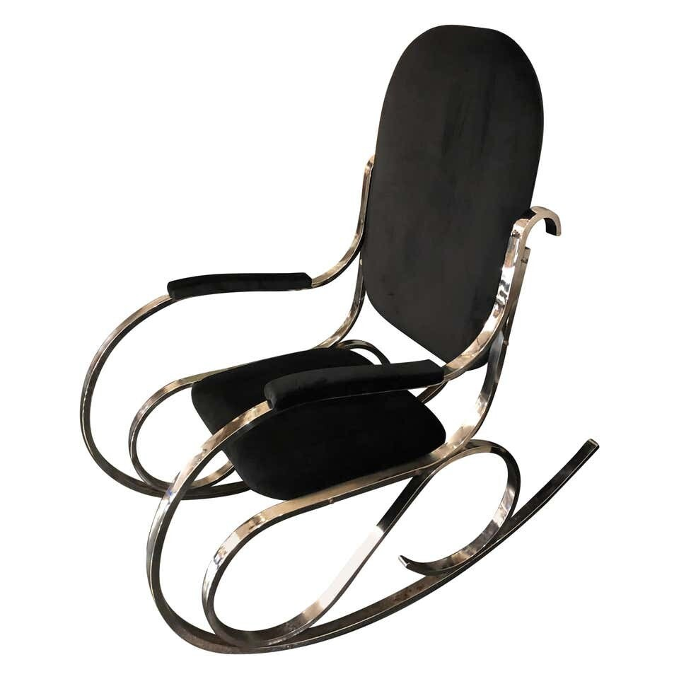Mid-Century Modern Chrome Base and Black Velvet Italian Rocking Chair circa 1970