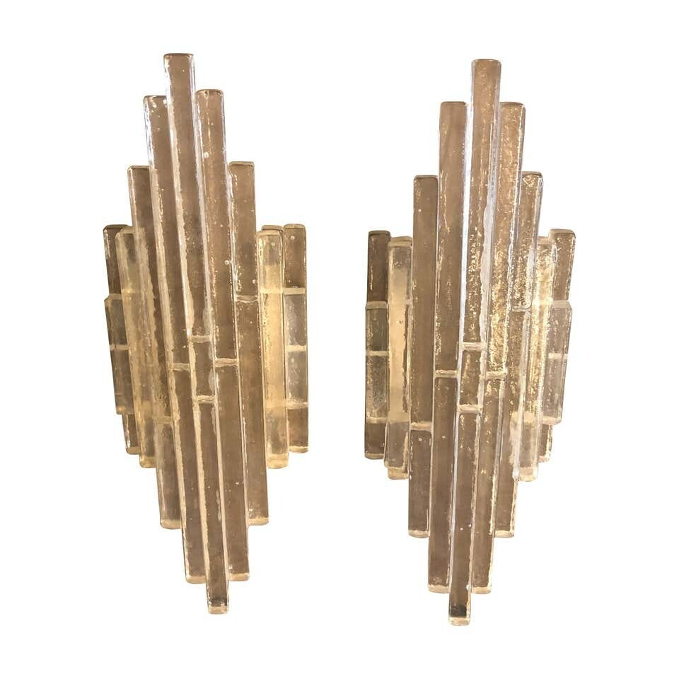 Albano Poli for Poliarte Iconic Stacked Glass Set of Two Wall Sconces circa 1960