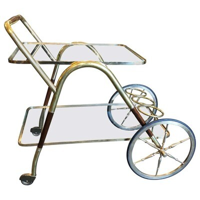Cesare Lacca Mid-Century Modern Brass and Wood Italian Bar Cart, circa 1950