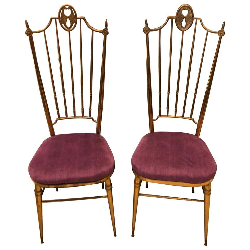 Set of Two Brass and Purple Velvet Chiavari Chairs, Italy, circa 1960