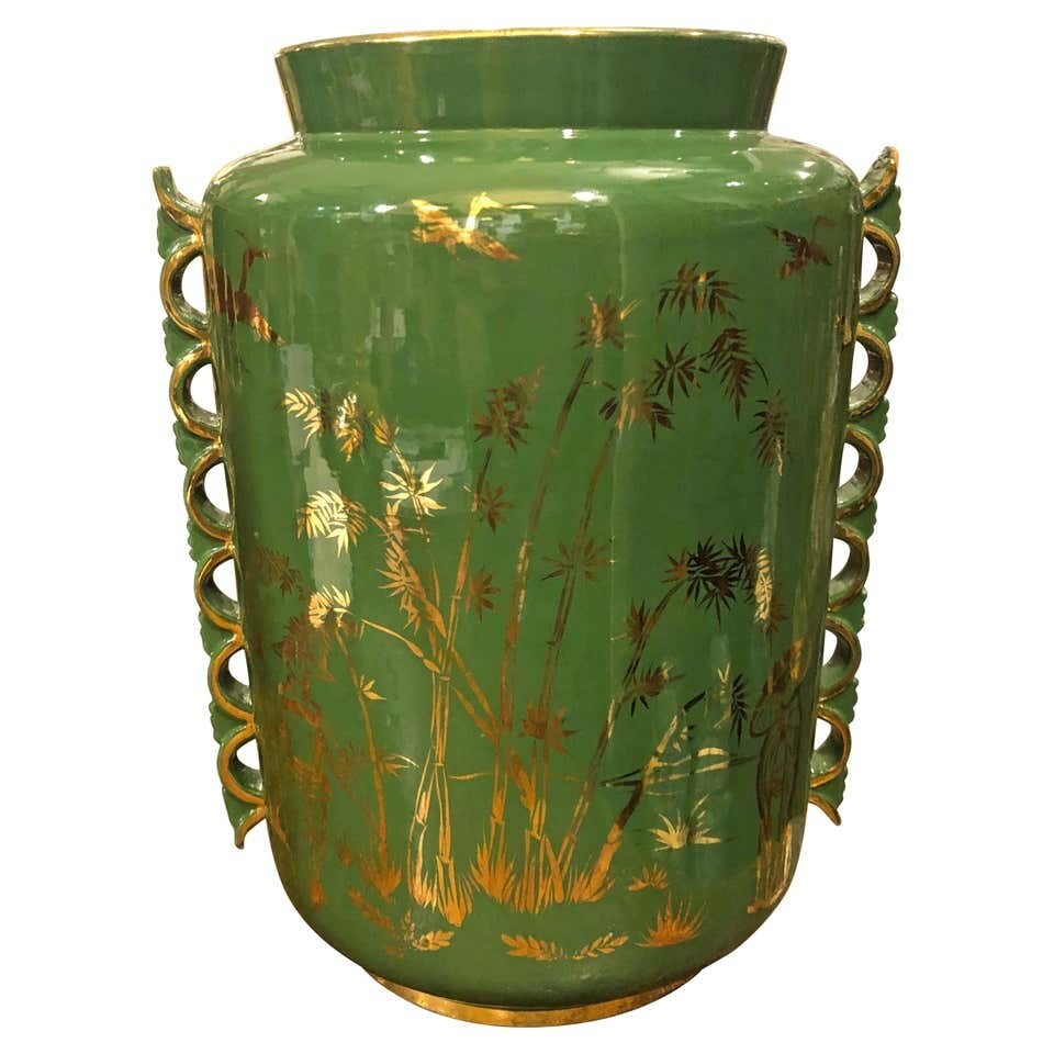 Mid-Century Modern Green and Gold Ceramic Italian Vase, circa 1960
