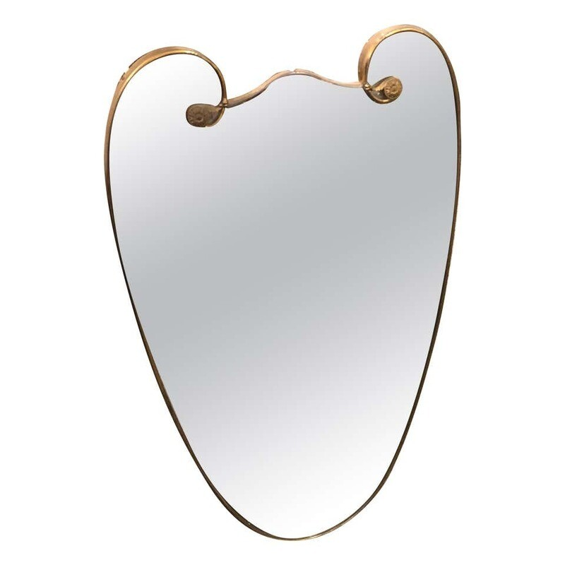 Mid-Century Modern Brass Italian Wall Mirror in the Manner of Giò Ponti