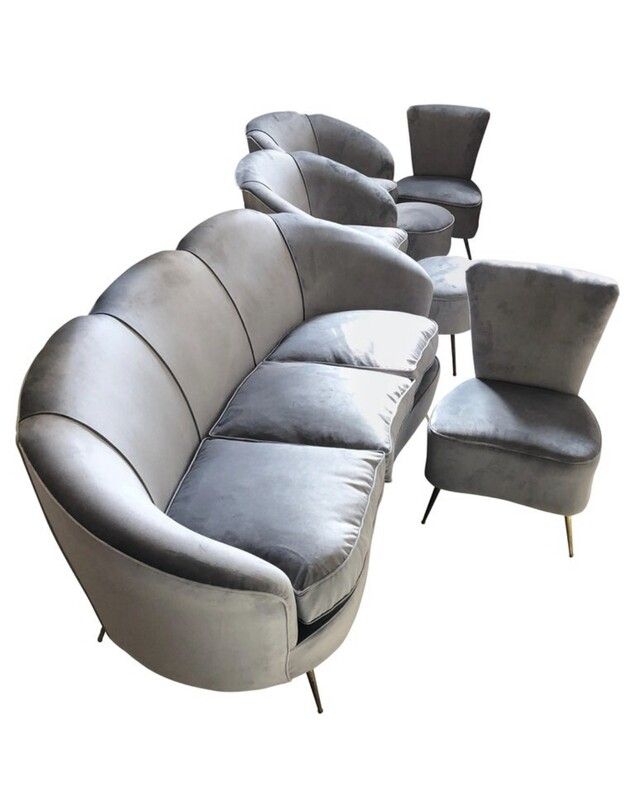 Mid-Century Modern Grey Velvet Sofa, Armchairs, Chairs and Poufs, circa 1950