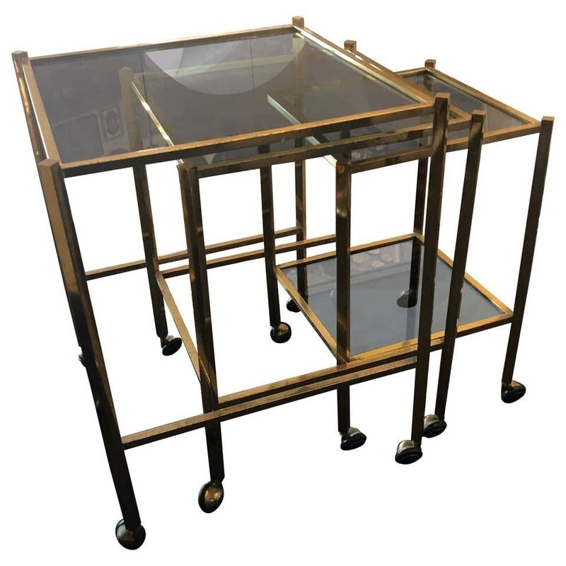 Mid-Century Modern Set of Three Brass and Smoked Glass Nesting Tables circa 1960