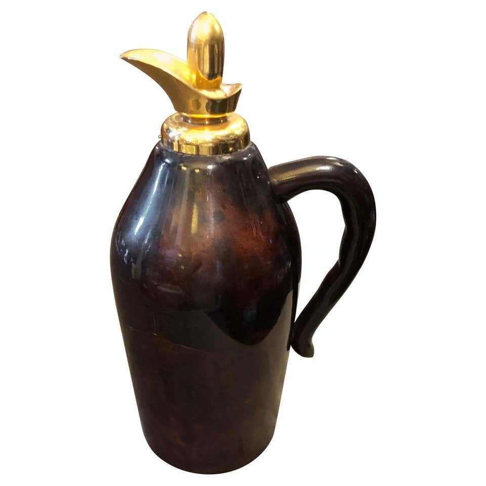 Aldo Tura Mid-Century Modern Brown Goatskin and Brass Thermos Carafe, circa 1960