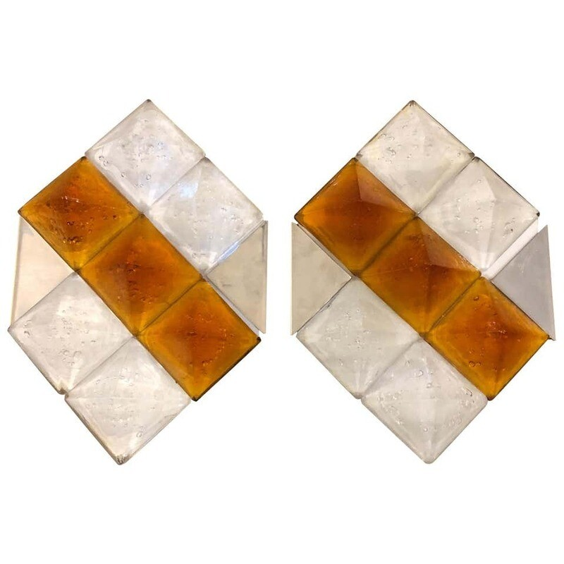 Mazzega Two Mid-Century Modern Steel and Murano Glass Wall Sconces, circa 1970
