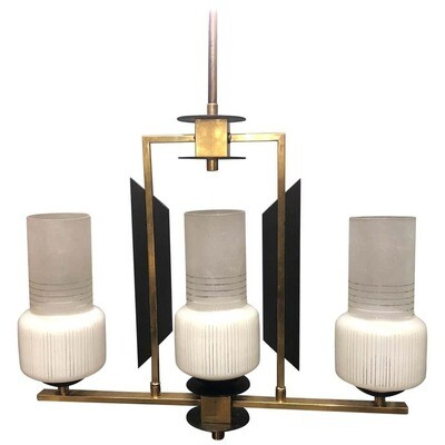Mid-Century Modern Ebonized Wood, Brass and Glass Three Lights Chandelier, 1950