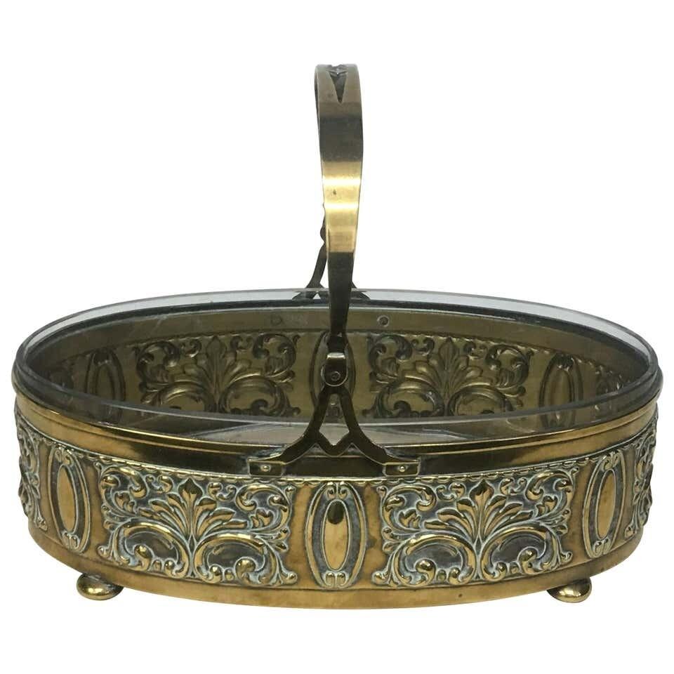 Art Nouveau English Brass Centerpiece, circa 1910