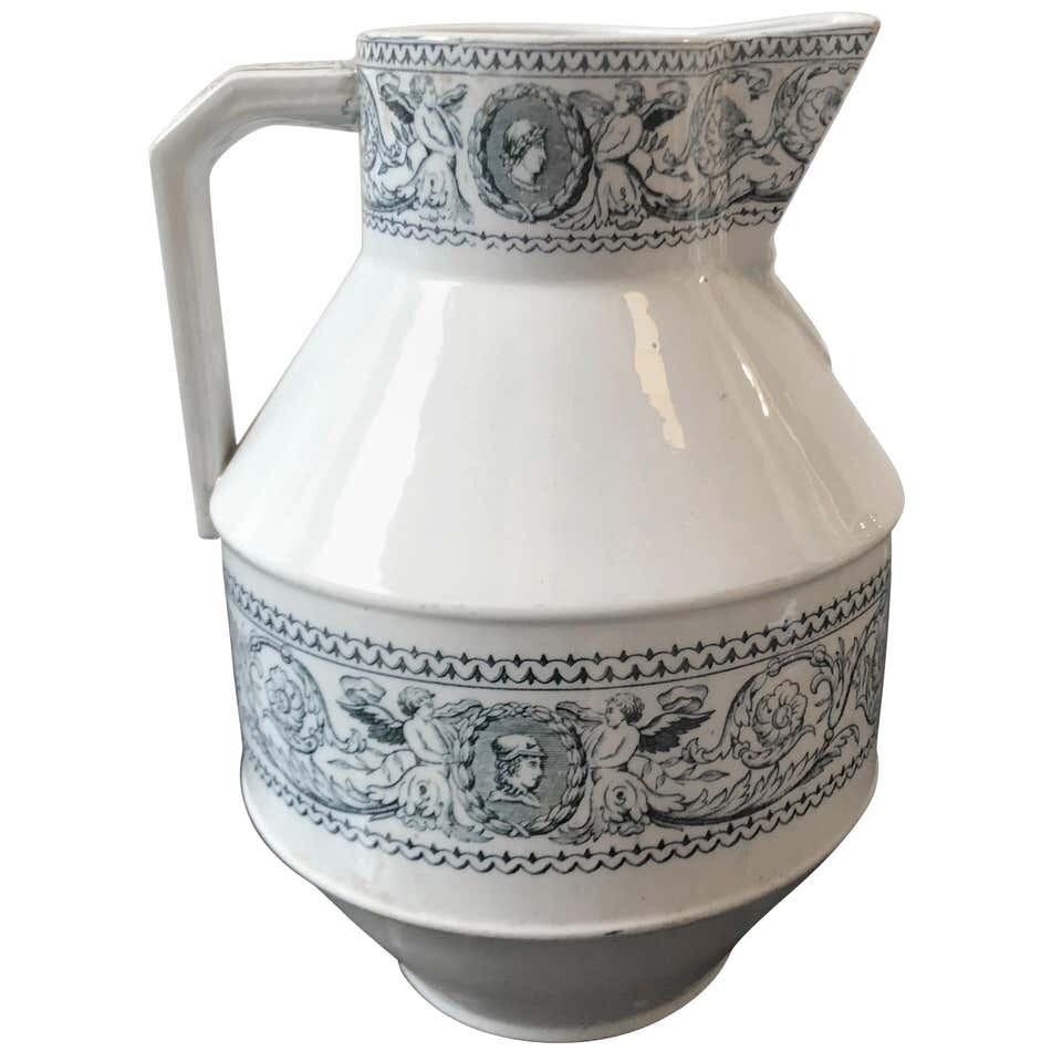 Victorian Aesthetic Style British Blue and White Ceramic Jug  1870