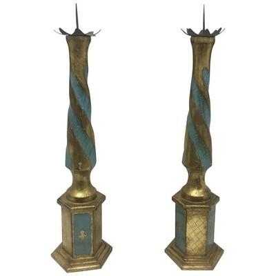Set of Two Italian Wood Torchères, circa 1930