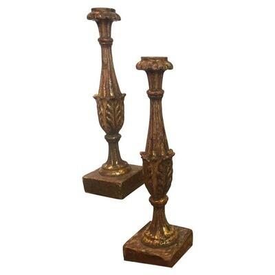 Pair of Antique Baroque Sicilian Giltwood Candlesticks