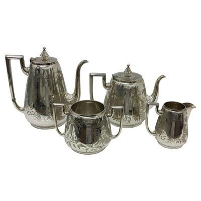 James Dixon Victorian English Silver Plated Tea Set circa 1870