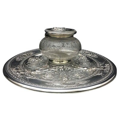 English Silver Plated Inkwell by T. Elkington, circa 1870