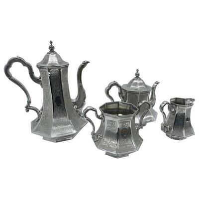 Skinner & Co. Art Nouveau Engraved silver plated English Tea Service circa 1890