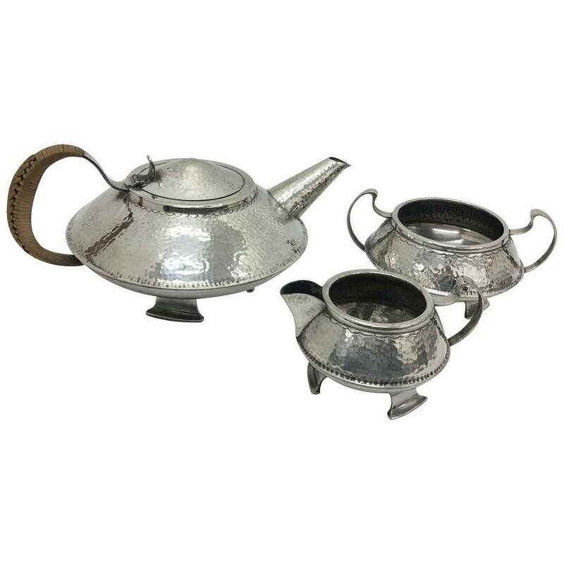 Arts and Crafts silver plated English Tea Set, circa 1910