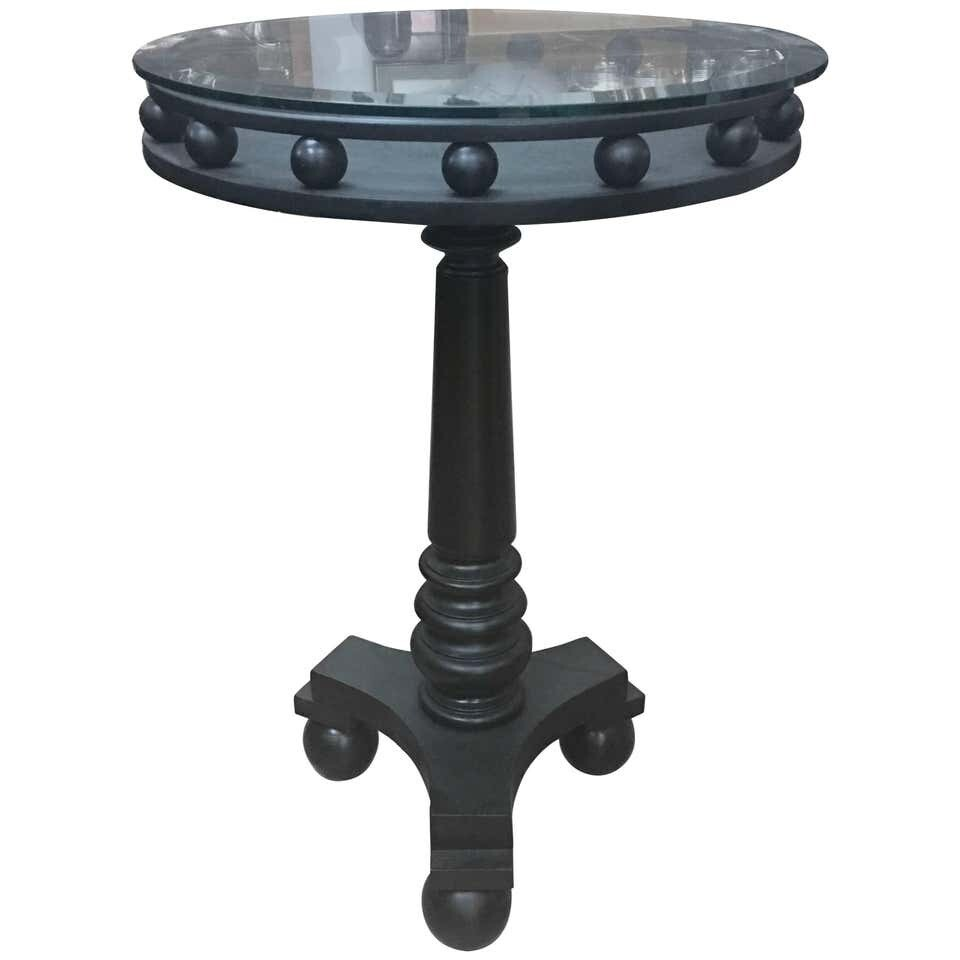 Italian Art Deco Black Side Table, circa 1935