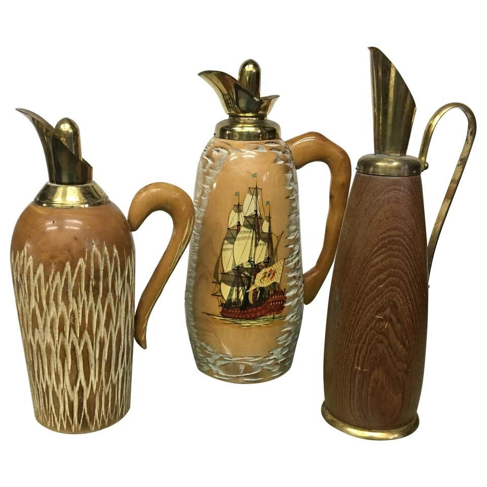 Set of Three Aldo Tura Mid-Century Modern Wood Pitchers, circa 1950
