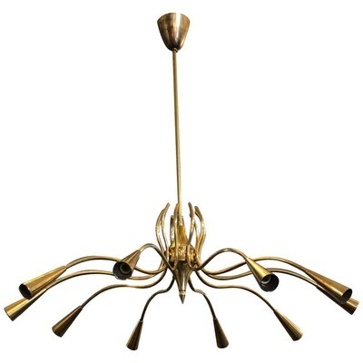 Oscar Torlasco Attributed Mid-Century Modern Brass Ten-Light Chandelier