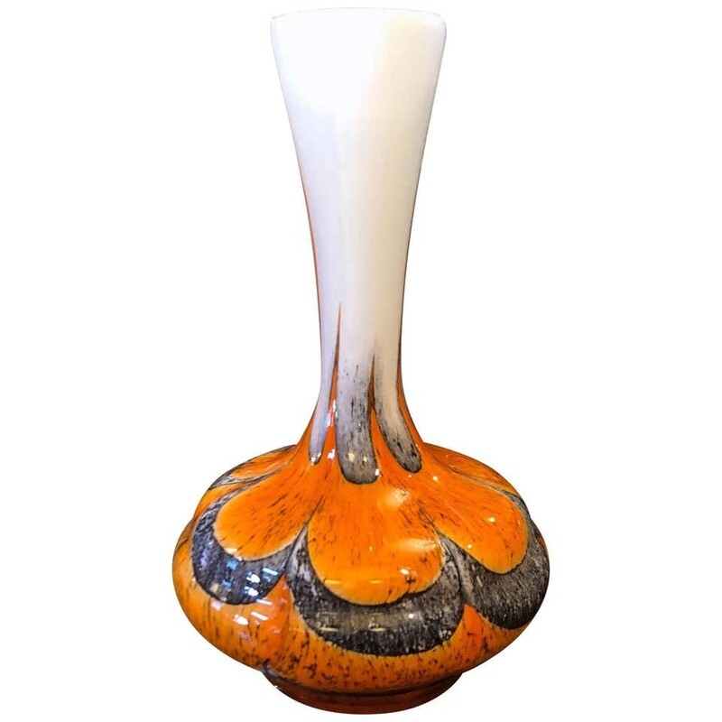 Carlo Moretti Mid-Century Modern Orange and Grey Opaline Vase, circa 1970