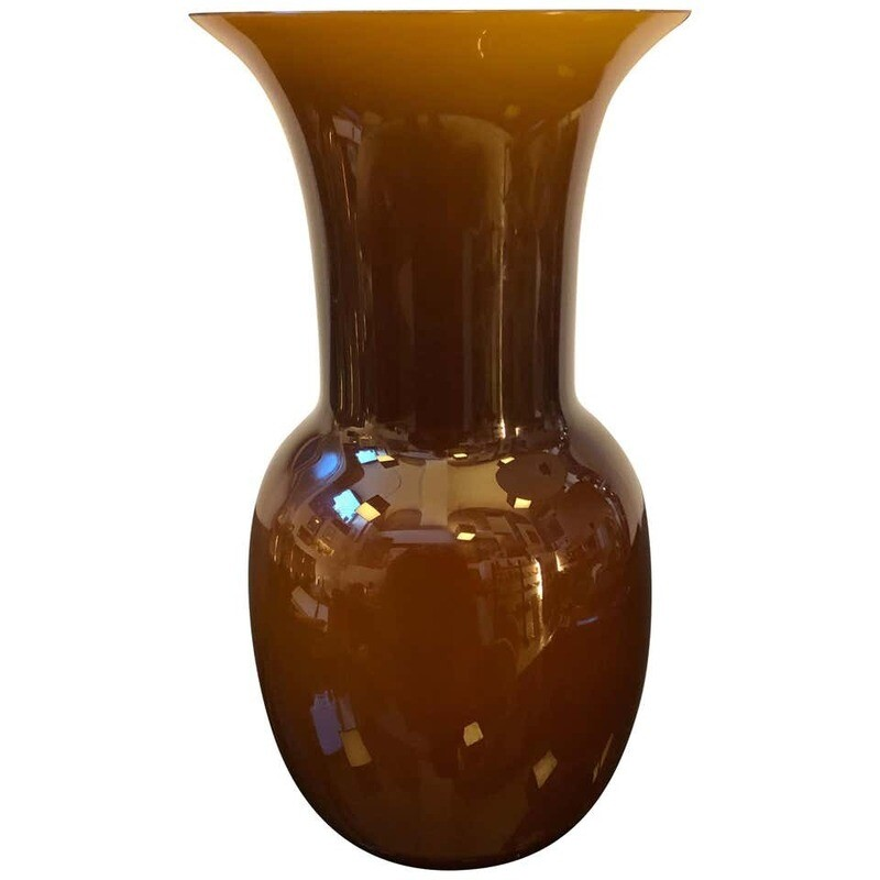 Aureliano Toso Brown Murano Glass Vase, Italy, 2000
