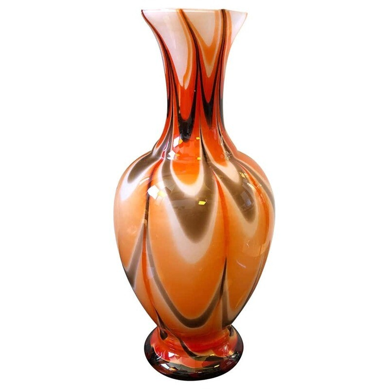Mid-Century Modern Red Orange and White Opaline Italian Vase, circa 1970