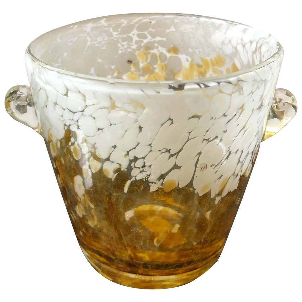 Venini Yellow and White Murano Glass Ice Bucket Made in Italy in the 1980s