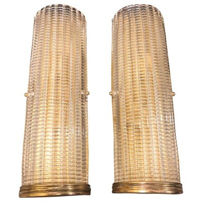 Set of Two Mid-Century Modern Brass and Glass Wall Sconces, circa 1970