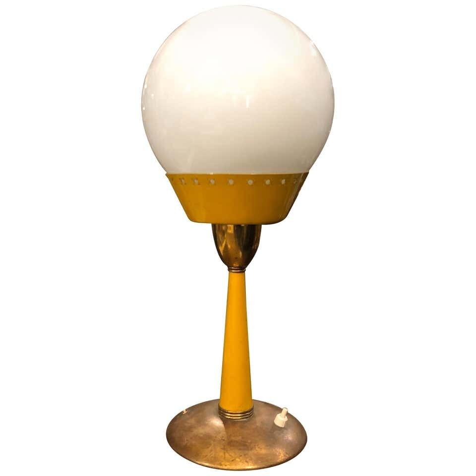 Mid-Century Modern Brass and Glass Italian Table Lamp, circa 1950