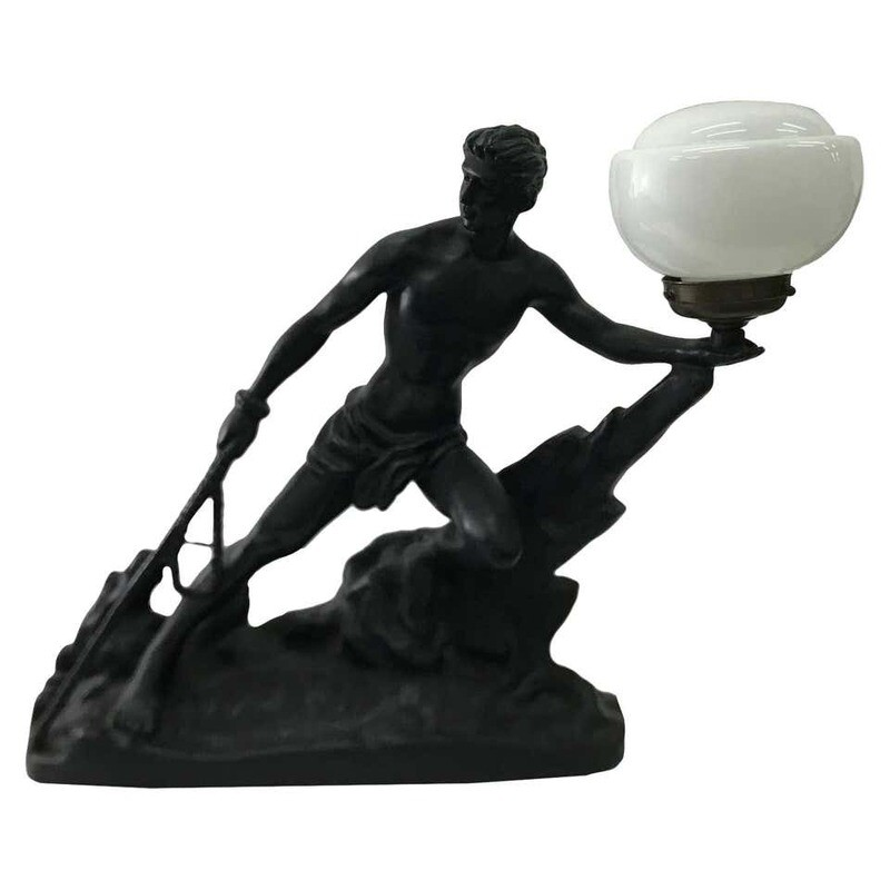 Art Deco black and white French Table Lamp, circa 1930