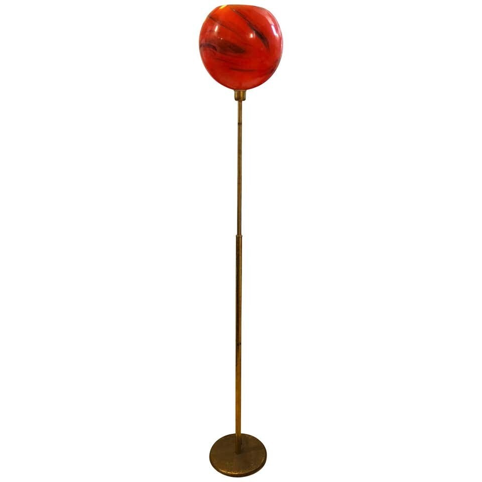 Mid-Century Modern Italian Brass and Red Glass Floor Lamp, circa 1950